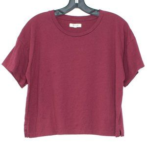 Madewell Tee Shirt Crop Short Sleeve Red Medium CJ